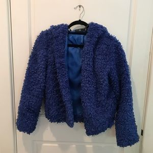 Missguided blue fuzzy hooded jacket